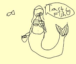 A thiccc mermaid enjoys fish.