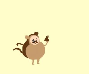Monkey eats a poop