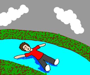 dead man floating in river
