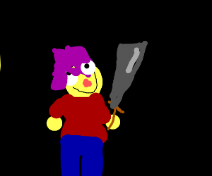 purple-haired kid with a sword