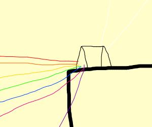 A triangular prism sitting on a ledge