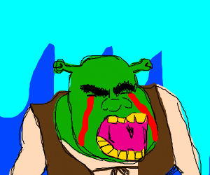 Shrek crying blood