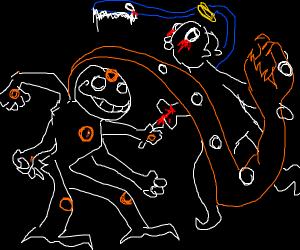 Man w/ orange dot stabs angel with toothbrush