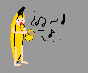 a man in a banana costume playing a saxophone