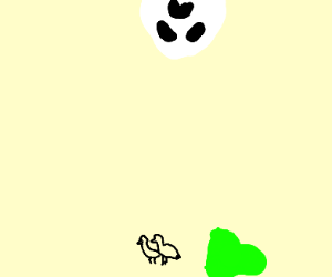 A slime and two birds below a ghost face