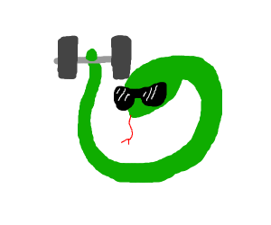 Cool snake lifts weights