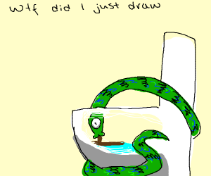 Snake sucking feces from a toilet