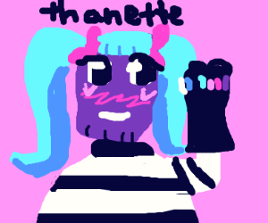female kawaii Thanos-chan has the gauntlet