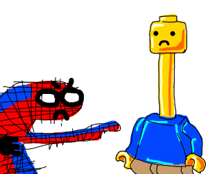 Spooderman insults long neck LEGO man.