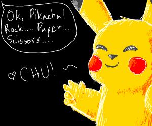 Pikachu with scissors