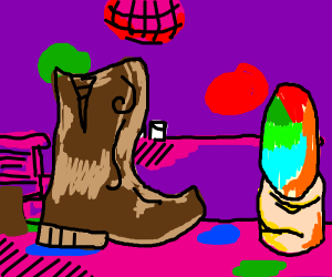 A disco for boots and multicolored nails