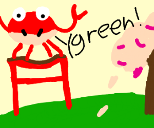 Firebreathing crab shouting green in Japanese