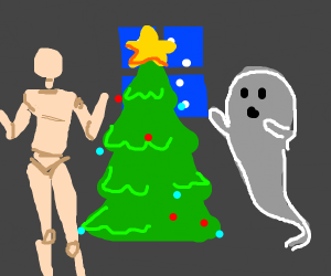 Ghost and mannequin celebrate Christmas