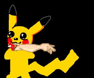 Pikachu eating human arm