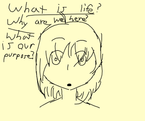 anime girl questioning existance