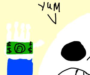 sans likes to eat money