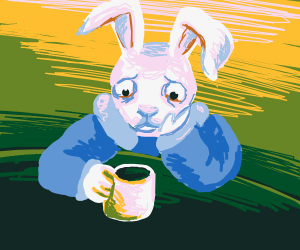 Bunny is fighting urge to finish his coffee