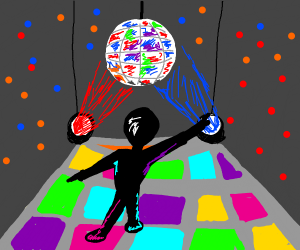 Dancing under shiny disco balls