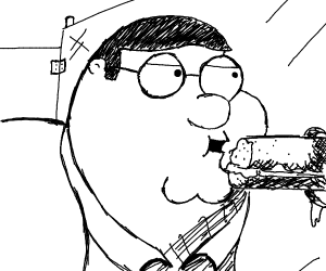 peter griffin eating an sandwich