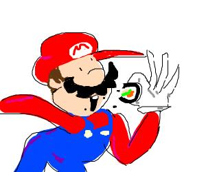 Mario eats sushi roll