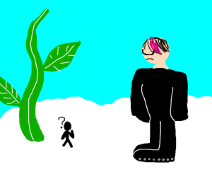 Jack and the beanstalk but the giant is emo