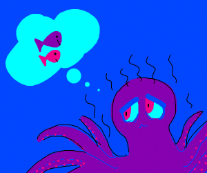 Stinky Octupus dude dreaming about fish