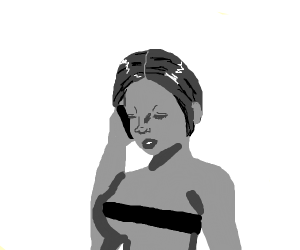 A woman with censored body talks in the phone