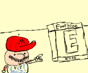 Mario next to the E for everyone sign