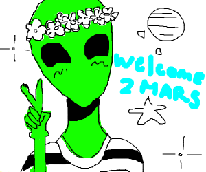 green alien greets you to mars