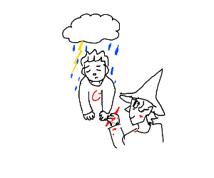 Witch rates man with raincloud over head a C