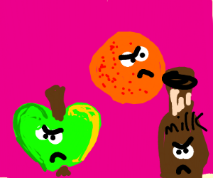 Angry Apple, orange, and chocolate milk