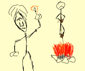 Weird dude burning someone