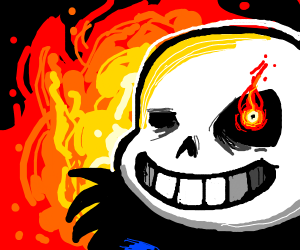 Sans, but his eye flame is red - Drawception