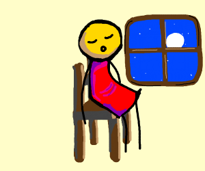 somebody sleeps on a chair