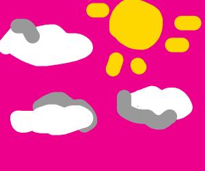 a pink sky