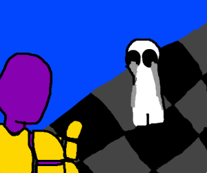 purple dude is afraid of ghosts