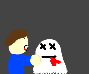 angry boy eats bloody ghost
