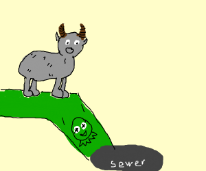Goat goes to kermit sewer slide