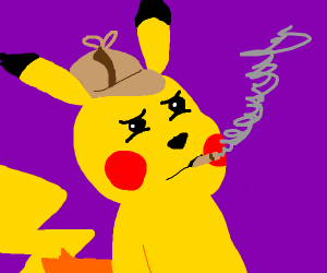 Detective pikachu smoking