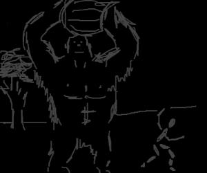 A gorilla throws a barrel at a man