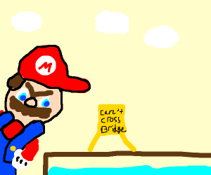 mario is angry at bridge under construction