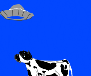 Goth cow takes one last look at the ufo