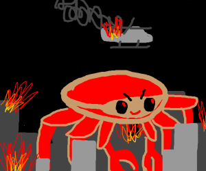 Monster crab destroys city