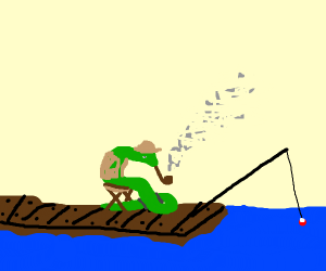 Fisherman snake smokes a pipe.