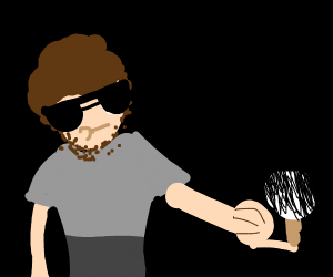 Bob Ross balances large brush on one finger