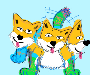 Three-headed colourful dog