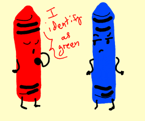 red crayon says I am to green crayon