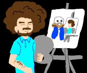 Bob ross drawing sans drawing bob ross