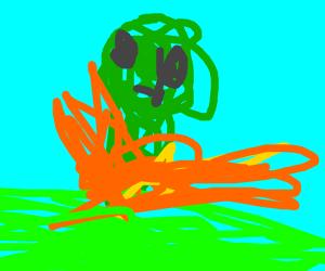 alien burning in fire