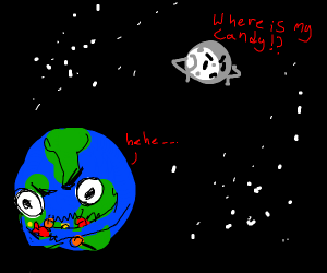 Earth stealing candy from moon